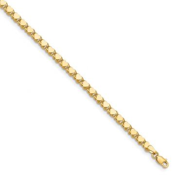 Quality Gold 14k Polished Double-Sided Heart Anklet