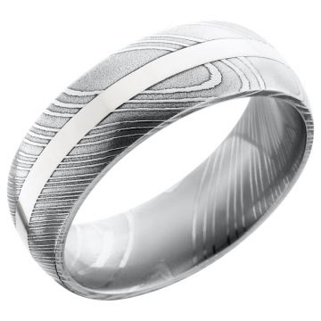 Lashbrook Black & White Damascus Steel Men's Wedding Band