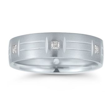Novell 14k White Gold 6mm Men's Diamond Wedding Band