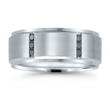 Novell 14k White Gold 8mm Men's Diamond Wedding Band