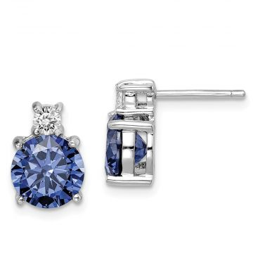 Quality Gold Sterling Silver Rhod-plated Blue and White CZ Stud Earrings