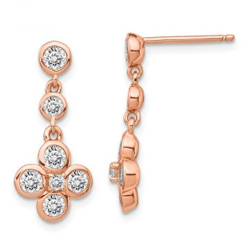 Quality Gold Sterling Silver Rose-tone Polished CZ Post Dangle Earrings