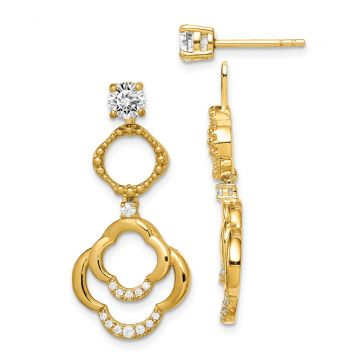 Quality Gold Sterling Silver Gold-tone 4mm Round CZ Earrings  Chandelier Jackets