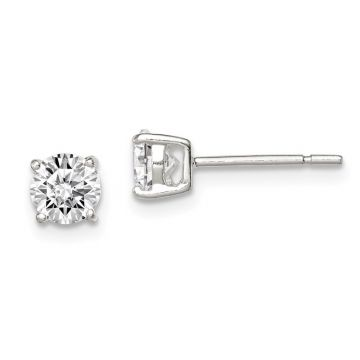 Quality Gold Sterling Silver 5mm Round Basket Set CZ Stud Earrings