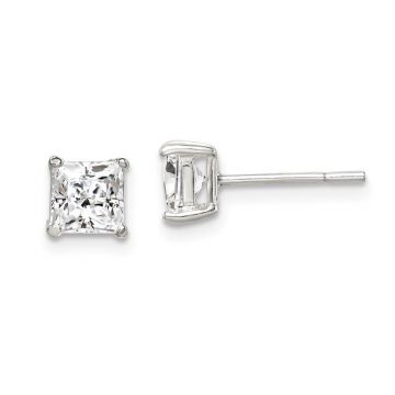 Quality Gold Sterling Silver 5mm Princess Basket Set CZ Stud Earrings