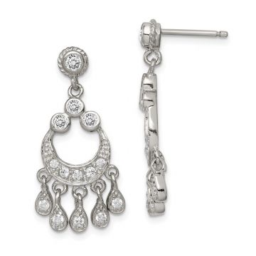 Quality Gold Sterling Silver CZ Chandelier Style Earrings
