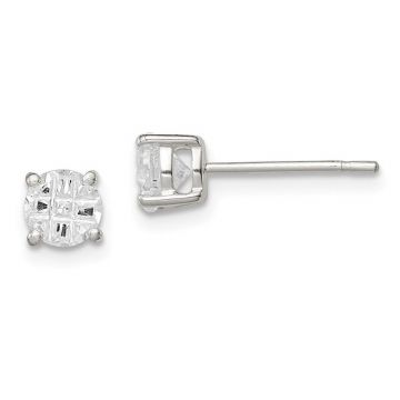 Quality Gold Sterling Silver 5mm Round 4 Prong CZ Stud Earrings