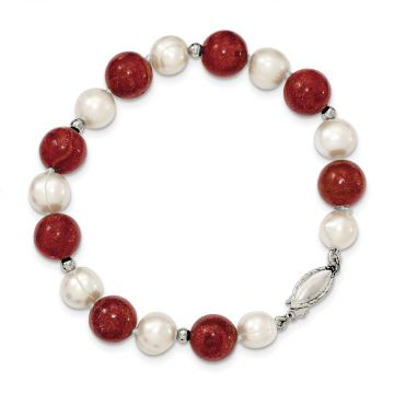 Quality Gold Sterling Silver FW Cultured Pearl & Stabilized Red Coral Bracelet