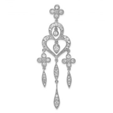 Quality Gold Sterling Silver Rhodium-plated Fancy CZ Chandelier Style Pendant
