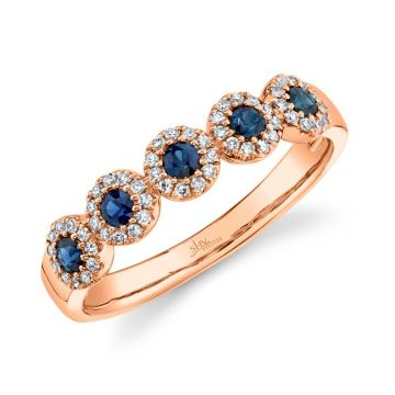 Shy Creation 14k Rose Gold Diamond and Gemstone Ring
