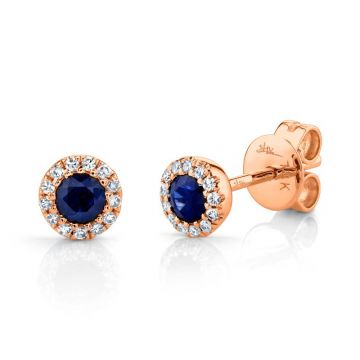 Shy Creation 14k Rose Gold Diamond and Gemstone Stud Earrings