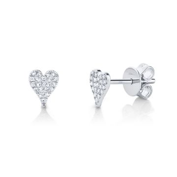 Shy Creation White 14K Gold 0.10Ct Diamond Pave Heart Stud Earring