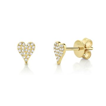 Shy Creation Yellow 14K Gold 0.10Ct Diamond Pave Heart Stud Earring