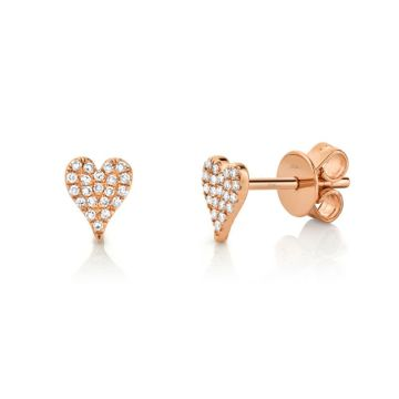 Shy Creation Rose 14K Gold 0.10Ct Diamond Pave Heart Stud Earring