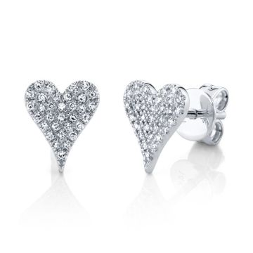 Shy Creation White 14K Gold 0.14Ct Diamond Pave Heart Stud Earring