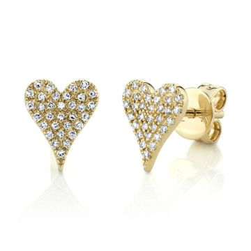 Shy Creation Yellow 14K Gold 0.14Ct Diamond Pave Heart Stud Earring