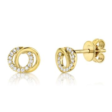 Shy Creation Yellow 14K Gold 0.09Ct Diamond Love Knot Circle Earring