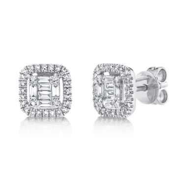 Shy Creation White 14K Gold 0.43Ct Diamond Baguette Stud Earring