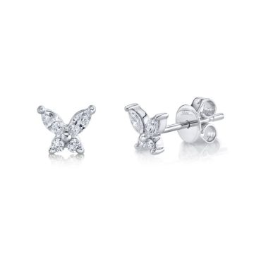 Shy Creation White 14K Gold 0.29Ct Diamond Butterfly Stud Earring