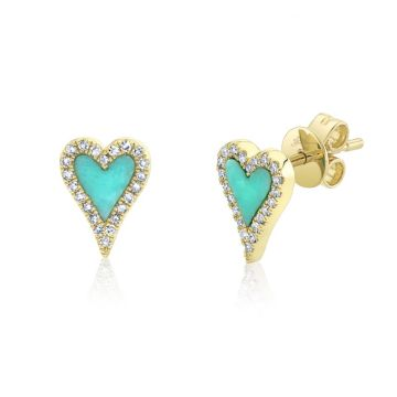 Shy Creation Yellow 14K Gold 0.13Ct Diamond & 0.36Ct Composite Turquoise Heart Stud Earring