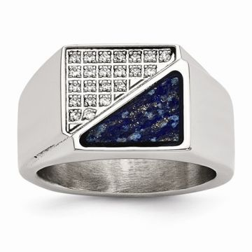 Chisel Stainless Steel Polished With Lapis Lazuli Inlay And CZ Men's Ring