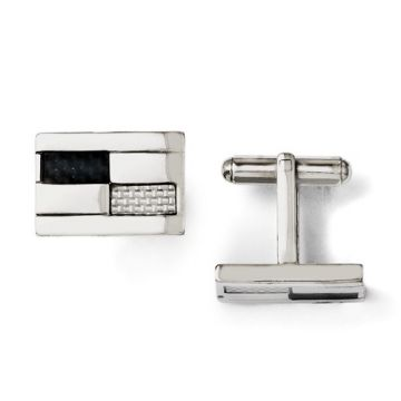 Chisel Stainless Steel Black & Grey Carbon Fiber Cufflinks