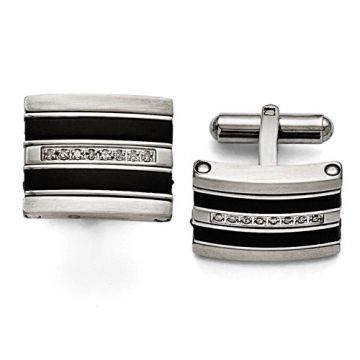 Chisel Stainless Steel Polished/Brushed Black Rubber 0.15ct.Tw. Diamond Cuff Link