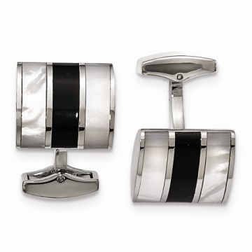 Chisel Stainless Steel Polished Black Semi-Precious Stone & MOP Cufflinks