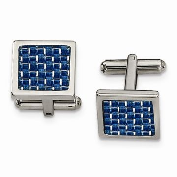 Chisel Stainless Steel Blue Carbon Fiber Cufflinks