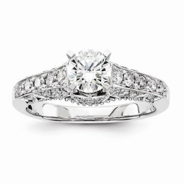 Quality Gold 14k White Gold Diamond Straight Semi-Mount Engagement Ring