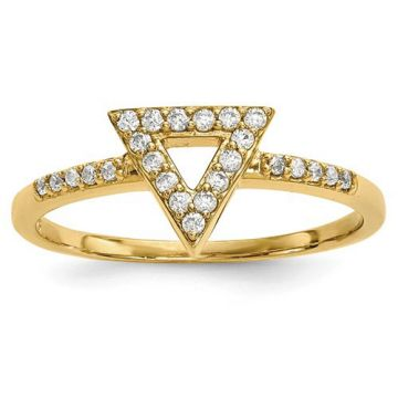 Quality Gold 14k Yellow Gold Diamond Triangle Ring