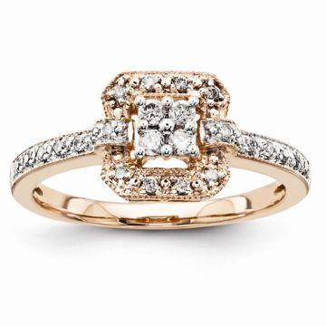 Quality Gold 14K Rose Gold Multi-Stone Diamond Engagement Ring
