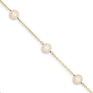 Quality Gold 14k 9 inch FW Cultured Pearl Anklet