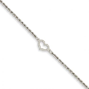Quality Gold 14k White Gold Rope with Heart Anklet