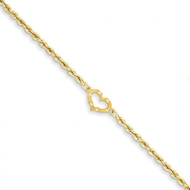 Quality Gold 14k Satin & Diamond-cut Open Heart Rope Anklet