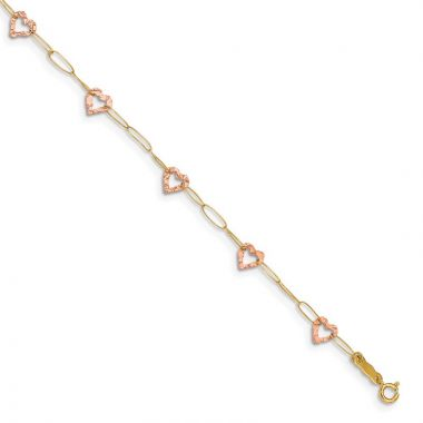 Quality Gold 14k Two Tone Adjustable Heart Anklet