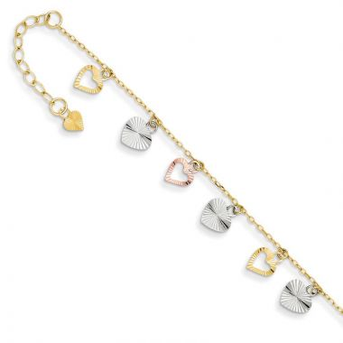 Quality Gold 14k Tri-Color Adjustable Heart Anklet