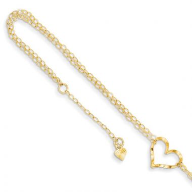 "Quality Gold 14k Double Strand Heart 9"" With 1"" Ext Anklet"