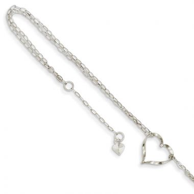Quality Gold 14k White Gold Double Strand Heart Anklet