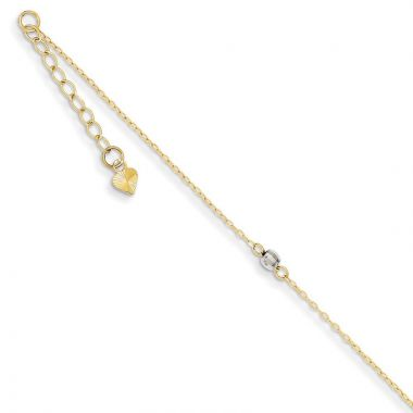 Quality Gold 14k Two Tone Mirror Bead Anklet