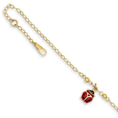 Quality Gold 14k Adjustable Enameled Ladybug Anklet