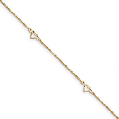 Quality Gold 14k Diamond-cut Hearts with 9in Anklet