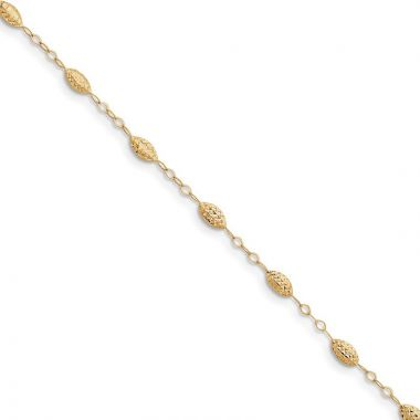 "Quality Gold 14k Puff Rice Bead 9"" with Anklet"