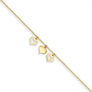 Quality Gold 14k 3 Hearts  Extension Anklet