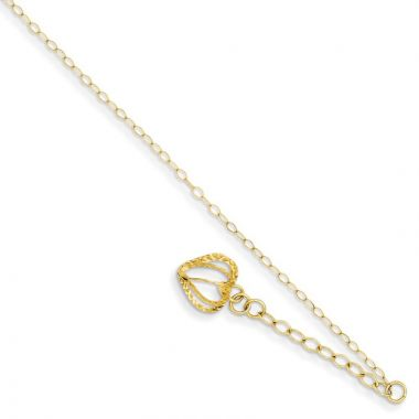 Quality Gold 14k Oval Link Chain with  Open Heart Cage Anklet