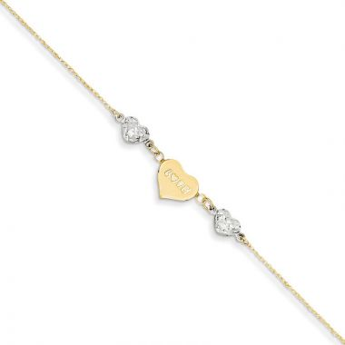 Quality Gold 14k Two Tone  Puffed Heart LOVE  Anklet
