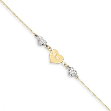 Quality Gold 14k Two Tone   Puffed Hearts MOM  Anklet