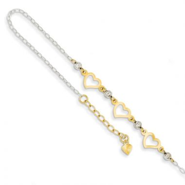 Quality Gold 14k Two Tone Oval Link Beads & Heart Anklet