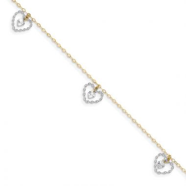 Quality Gold 14k Two Tone Twisted & Diamond Cut Hearts  Anklet