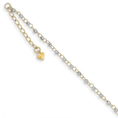 Quality Gold 14k Two Tone Circle Chain Mirror Beads Anklet